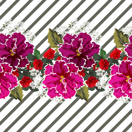 Beautiful roses and violets on striped background seamless pattern. Flower background for textile, cover, wallpaper, gift packaging, printing. Romantic design for calico, silk.  イラスト・ベクター素材
