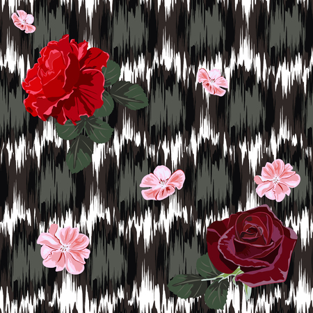 Beautiful delicate roses on background with abstract grunge texture seamless pattern. Flower background for textile, cover, wallpaper, gift packaging, printing. Romantic design for calico, silk. Vettoriali