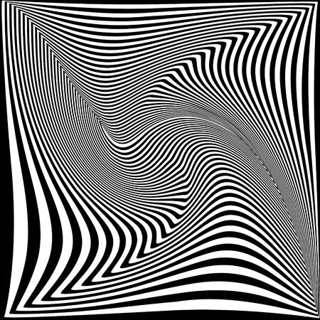 Abstract black and white background. Geometric pattern with visual distortion effect.