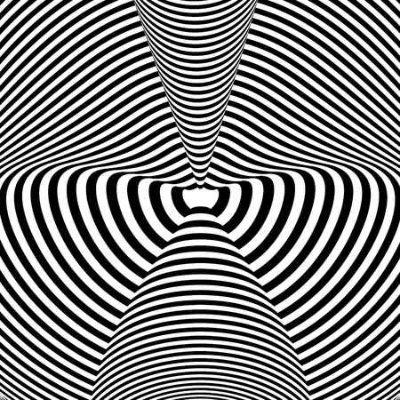 Abstract black and white background. Geometric pattern with visual distortion effect. Illusion . Op art.