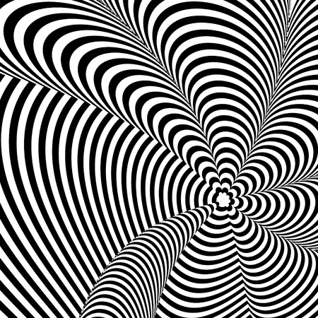 Abstract black and white background. Geometric pattern with visual distortion effect. Illusion of rotation. Op art.