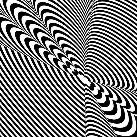 Abstract black and white background. Geometric pattern with visual distortion effect. Illusion of rotation. Op art. Stock Vector - 97051966