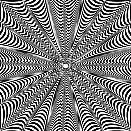 抽象的な黒と白の背景。視覚歪み効果を持つ幾何学模様。回転の錯覚。オプアート。 写真素材 - 97051979