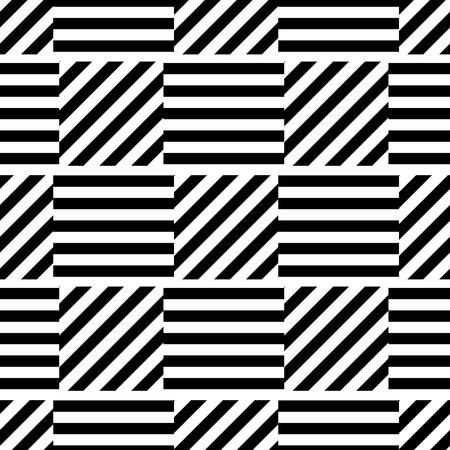 Fond noir et blanc sans couture géométrique avec des rayures. Pour la conception d'emballage, papier peint, tissu, toile. Distorsion visuelle.