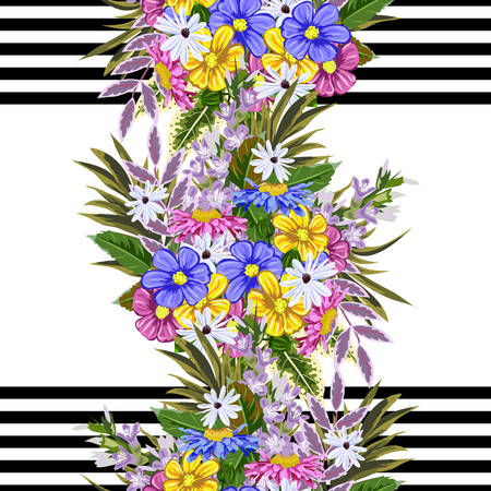 Pattern with cute garden flowers on a striped backdrop