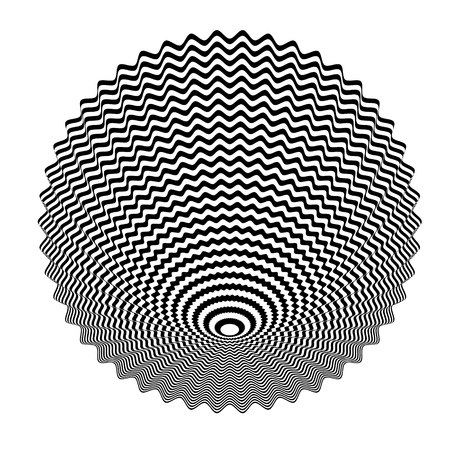 Abstract black and white striped background. Geometric pattern with visual distortion effect. Illusion of rotation. Op art. Illustration