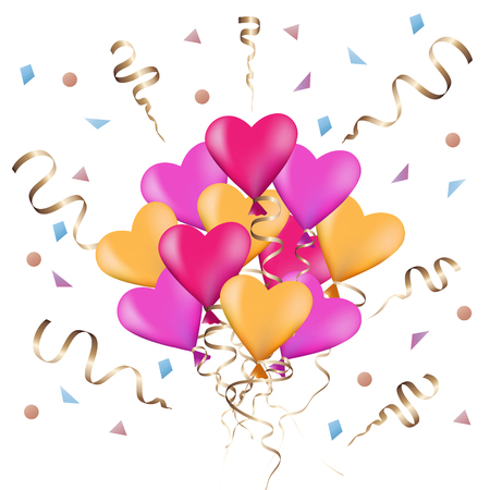 Festive background with colorful balloons in the shape of  heart and confetti. Party. Celebration. Vector.