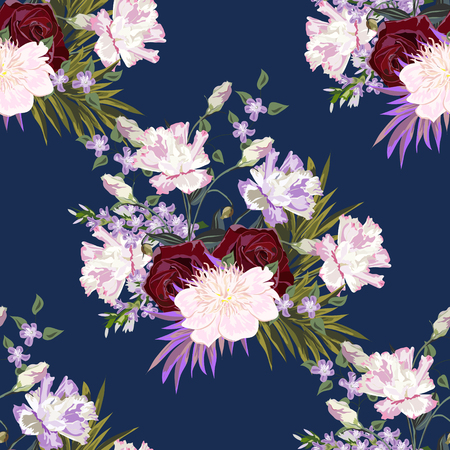 Seamless background with beautiful garden flowers. Roses, peony, eustoma. Design for cloth, wallpaper, gift wrapping. Print for silk, calico and home textiles.Vintage natural pattern