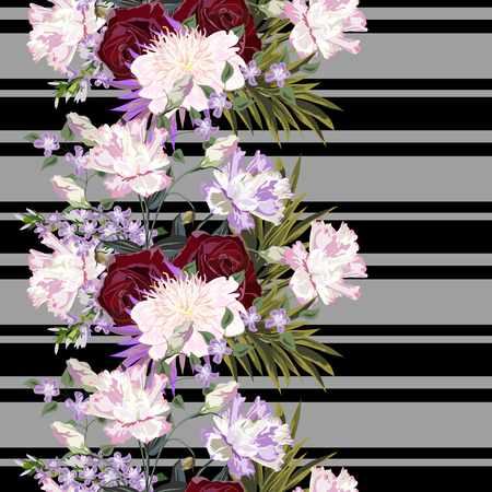 Seamless pattern with beautiful garden flowers on striped background. Roses, peony, eustoma. Flower background for textile, cover, wallpaper, gift packaging, printing.Romantic design for calico, silk.