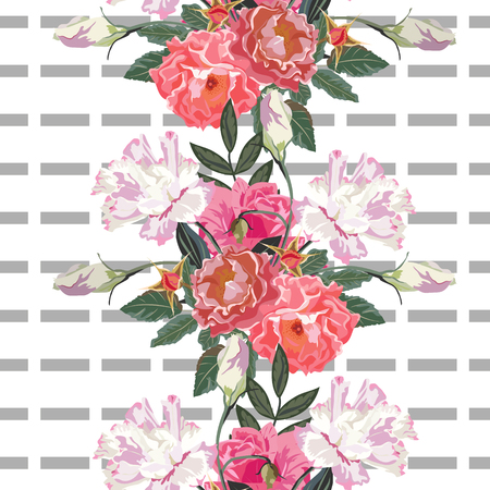 A Seamless pattern with beautiful delicate roses on striped background. Flower background for textile, cover, wallpaper, gift packaging, printing.Romantic design for calico, silk.