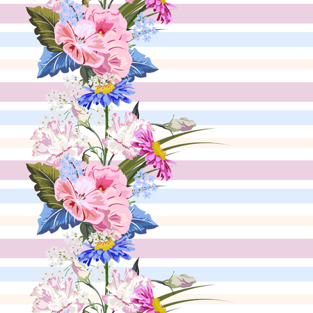 Seamless pattern with beautiful garden flowers on striped background. Flower background for textile, cover, wallpaper, gift packaging, printing.Romantic design for calico, silk. Illustration