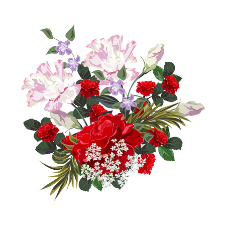 Bouquet of red roses. Decor elements for greeting cards, wedding invitations, birthday and other celebrations. Isolated on white background.