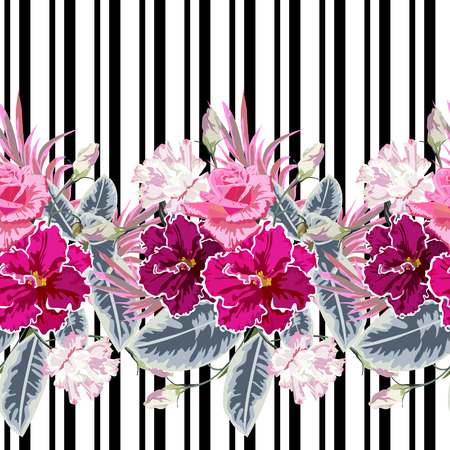 Seamless pattern with roses, eustoma and violets on striped background. Flower background for textile, cover, wallpaper, gift packaging, printing. Romantic design for calico, silk. Horizontal border.