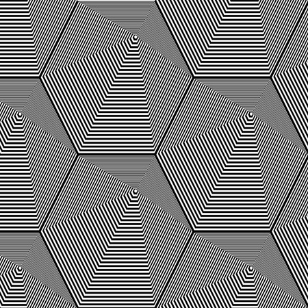 Abstract black and white striped background. Geometric pattern with visual distortion effect. Optical illusion. Op art Vector illustration.