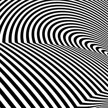 Abstract black and white striped background. Geometric pattern with visual distortion effect. Illusion of rotation.
