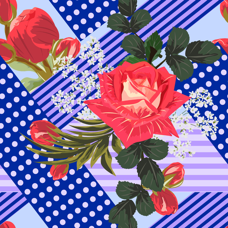 Seamless floral patchwork pattern. Flowers and geometric shapes. Flower background for textile.Romantic design for calico, silk. Illustration