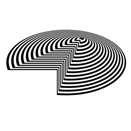 Abstract black and white striped background. Geometric circular object with visual distortion effect.