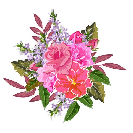 Bouquet of pink garden flowers.