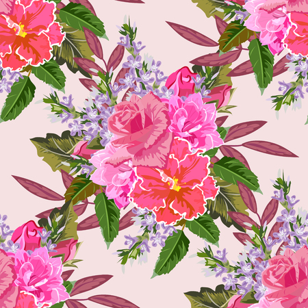 Seamless background with beautiful pink flowers. Design for cloth, wallpaper, gift wrapping. Print for silk, calico and home textiles.Vintage natural pattern Illustration