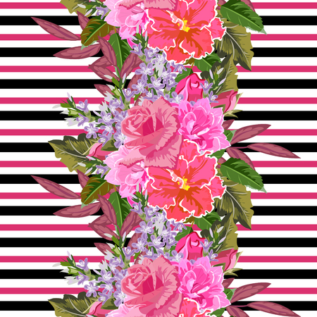 Seamless pattern with beautiful pink flowers on striped background. Flower background for textile, cover, wallpaper, gift packaging, printing.Romantic design for calico, silk.