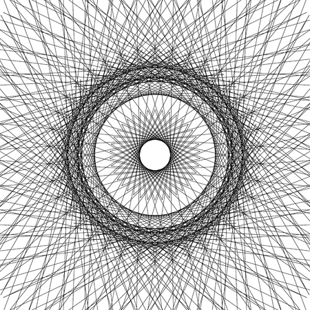 Abstract black and white background from intersecting fine threads and circles. Trendy geometric texture. Optical illusion. Illustration