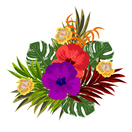Tropical bouquet of hibiscus and exotic leaves. Decor elements for greeting cards, wedding invitations, birthday and other celebrations. Isolated on white background.