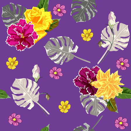 Seamless background with tropical flowers and leaves. Design for cloth, wallpaper, gift wrapping. Print for silk, calico and home textiles.Vintage natural pattern  イラスト・ベクター素材