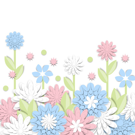 Greeting card with 3d paper flowers and place for text. Romantic design with paper cut flovers in pastel colors. For invitations, wedding, birthday and other festive projects. Flower field. Illustration