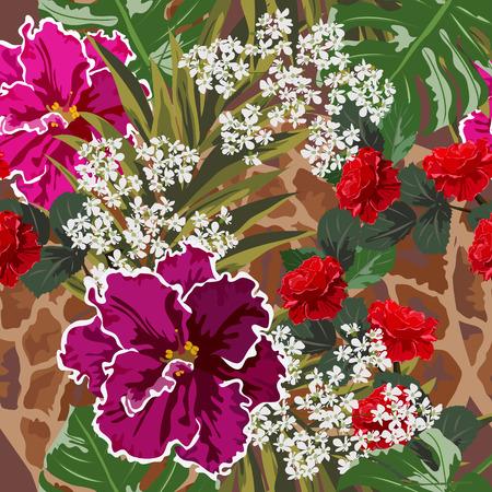 Fond transparent avec des feuilles tropicales, des fleurs et des motifs de peau de girafe. Motif floral pour impression sur tissu, vêtements, textiles de maison, papier peint, emballage cadeau.