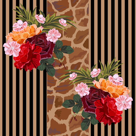 Seamless background with bouquet of roses and giraffe skin pattern. Floral pattern for printing on fabric, clothing, home textiles, wallpaper, gift wrapping.