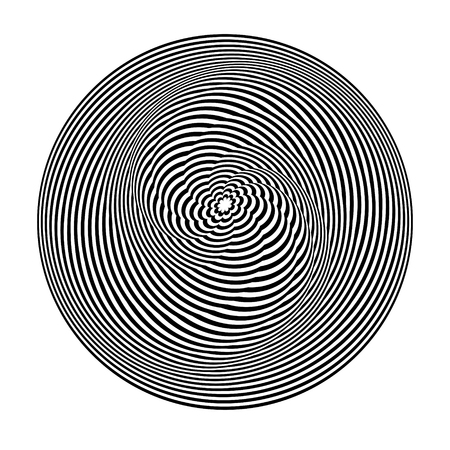 Abstract black and white striped round object. Geometric pattern with visual distortion effect. Illusion of rotation. Op art. Isolated on white background. Ilustração