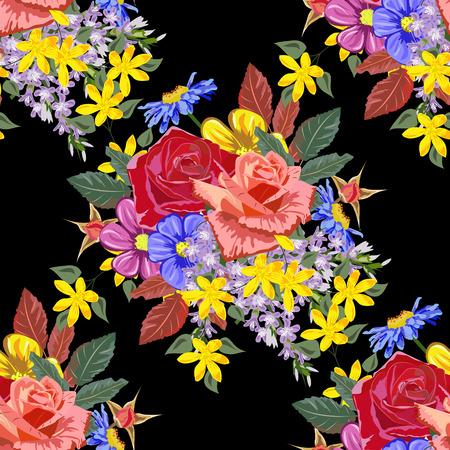 Nahtloser Hintergrund mit schönen Gartenblumen. Design für Stoff, Tapete, Geschenkverpackung. Druck für Seide, Kaliko und Heimtextilien. Vintage natürliches Muster Vektorgrafik