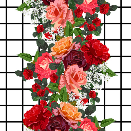 Seamless pattern with beautiful delicate roses on geometric background. Flower background for textile, cover, wallpaper, gift packaging, printing.Romantic design for calico, silk.
