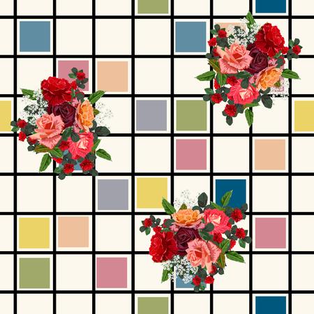 Patrón sin fisuras con hermosas rosas delicadas sobre fondo geométrico. Fondo de flores para textil, cubierta, papel tapiz, embalaje de regalo, impresión.Diseño romántico para calicó, seda.