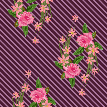 Seamless pattern with beautiful delicate roses on striped background. Flower background for textile, cover, wallpaper, gift packaging, printing.Romantic design for calico, silk.