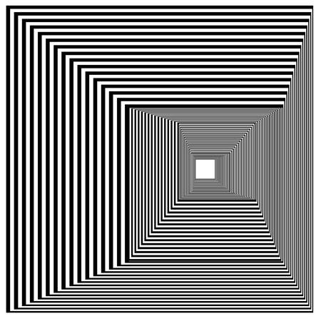 Abstract black and white striped square object. Geometric pattern with visual distortion effect. Optical illusion. Op art. Isolated on white background. Ilustração