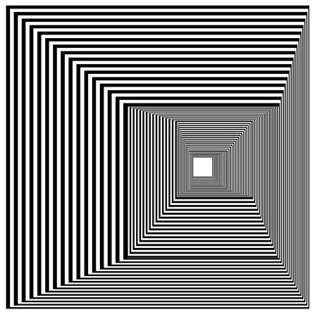 Objeto cuadrado rayado blanco y negro abstracto. Patrón geométrico con efecto de distorsión visual. Ilusión óptica. Arte abstracto. Aislado sobre fondo blanco.