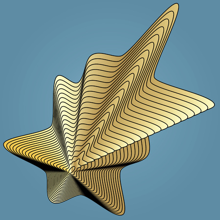 Wavy background of lines. Gold star with trendy gradient texture and effect of optical illusion. Vector. Illustration