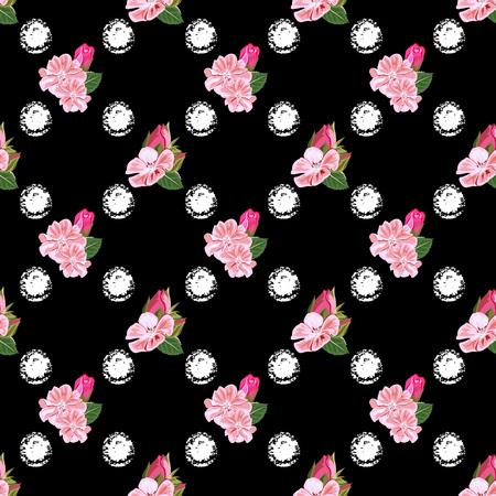 Seamless background with pink garden flowers and white dots. Design for cloth, wallpaper, gift wrapping. Print for silk, calico and home textiles.Vintage natural pattern