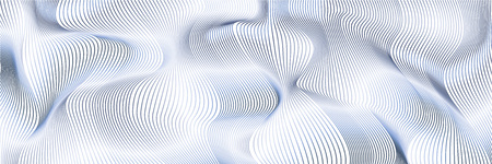 Wavy background of lines. Light blue dynamic surface with effect of optical illusion. Vector.