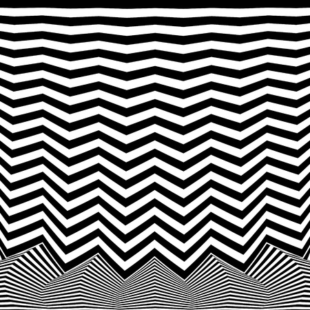 Abstract black and white striped background. Geometric pattern with visual distortion effect. Illusion of rotation. Op art. 免版税图像 - 117017041