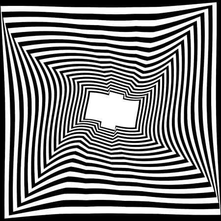 Abstract black and white striped background. Geometric pattern with visual distortion effect. Illusion of rotation. Op art. Vektoros illusztráció