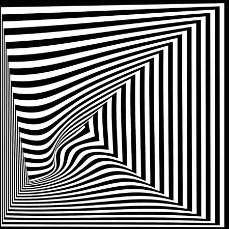 Abstract black and white striped background. Geometric pattern with visual distortion effect. Illusion of rotation. Op art. 矢量图像