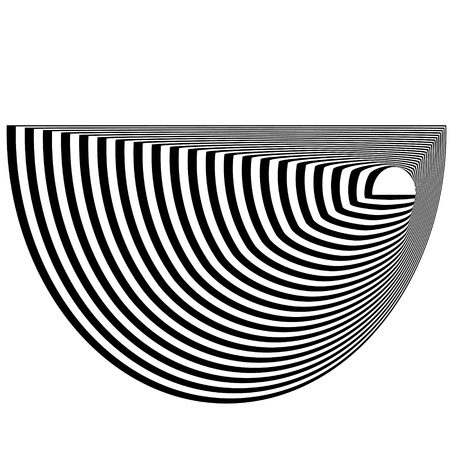 Abstract black and white striped semicircular object. Geometric pattern with visual distortion effect. Illusion of rotation. Op art. Isolated on white background.