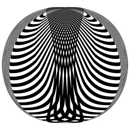 Abstract black and white striped round object. Geometric pattern with visual distortion effect. Illusion of rotation. Op art. Isolated on white background. 免版税图像 - 117017084