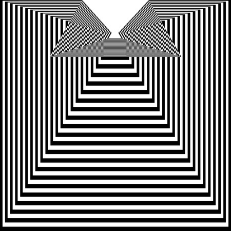 Abstract black and white striped background. Geometric pattern with visual distortion effect. Optical illusion. Op art. 矢量图片