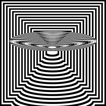 Abstract black and white striped background. Geometric pattern with visual distortion effect. Optical illusion. Op art. Foto de archivo - 117017103