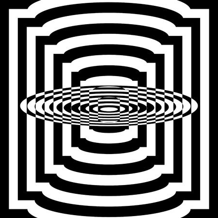 Abstract black and white striped background. Geometric pattern with visual distortion effect. Optical illusion. Op art. Stock Vector - 117017104