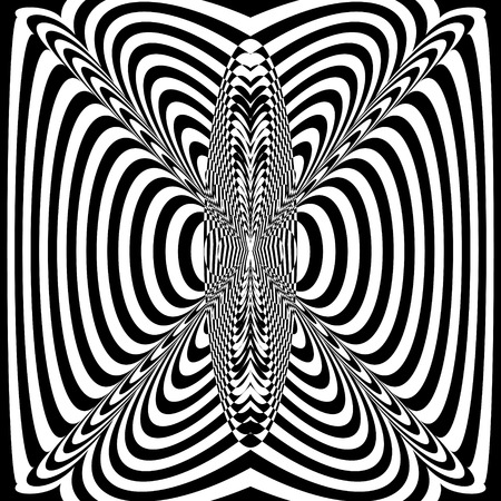 Abstract black and white striped background. Geometric pattern with visual distortion effect. Illusion of rotation. Op art. Foto de archivo - 117017105