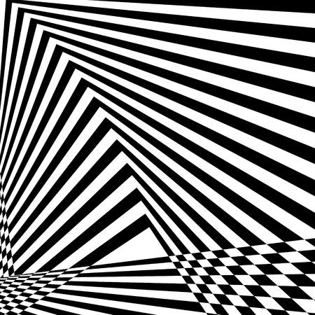 Abstrait rayé noir et blanc. Motif géométrique avec effet de distorsion visuelle. Illusion d'optique. Op art.